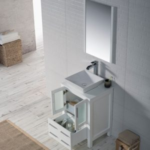 "Sydney Modern 24"" Bathroom Vanity Set with Vessel Sink and Mirror Glossy White"