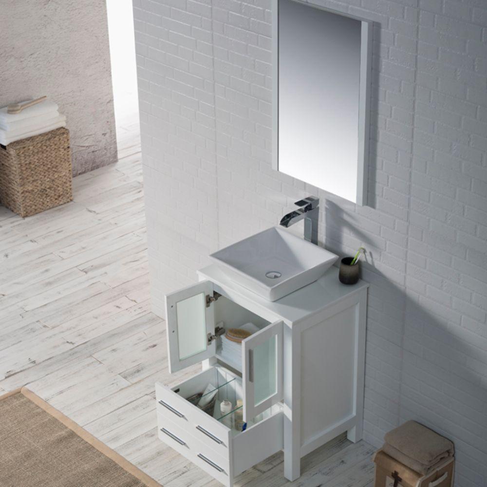 "Sydney Modern 24"" Bathroom Vanity Set with Vessel Sink and Mirror Glossy White"