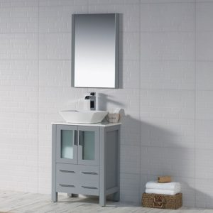 "Sydney Modern 24"" Bathroom Vanity Set with Vessel Sink and Mirror Metal Gray"