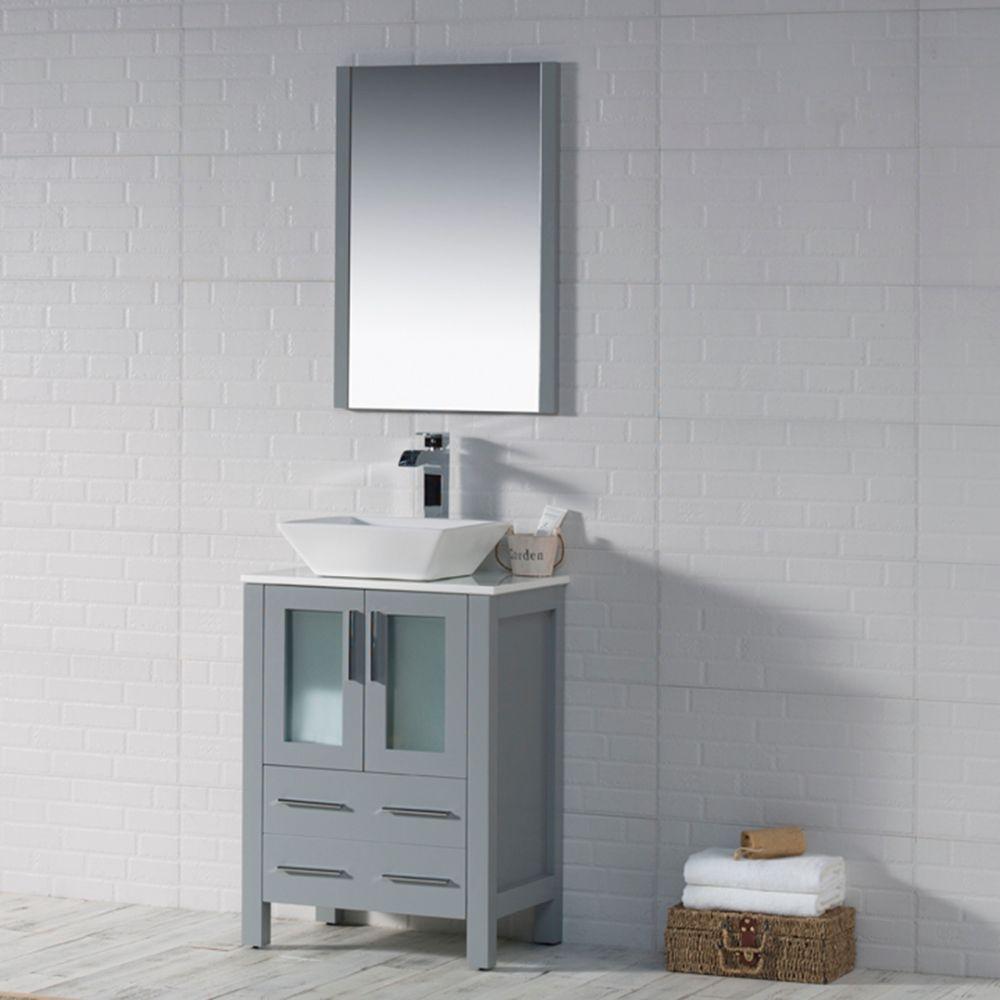 "Sydney Modern 24"" Bathroom Vanity Set with Vessel Sink and Mirror Metal Gray"