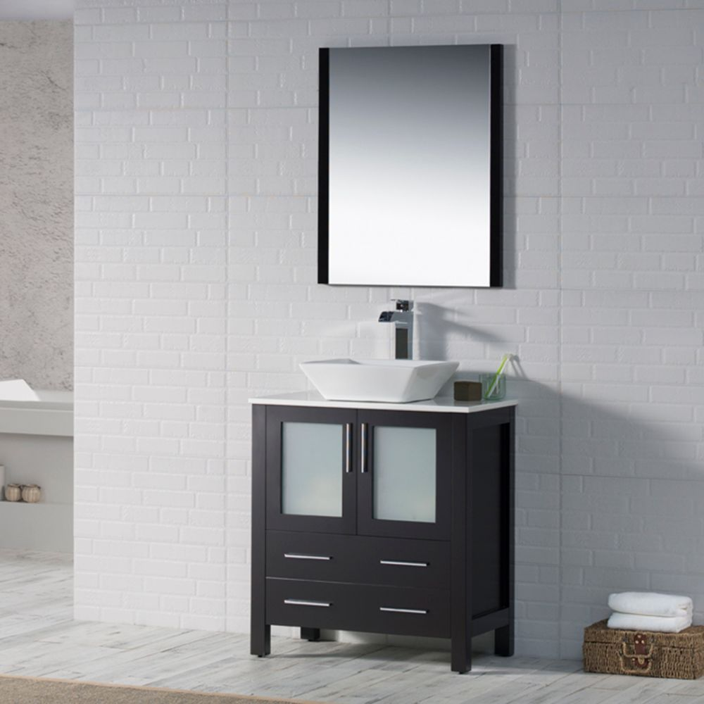 "Sydney Modern 30"" Bathroom Vanity Set with Vessel Sink and Mirror Espresso"