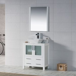 "Sydney Modern 30"" Bathroom Vanity Set with Vessel Sink and Mirror Glossy White"