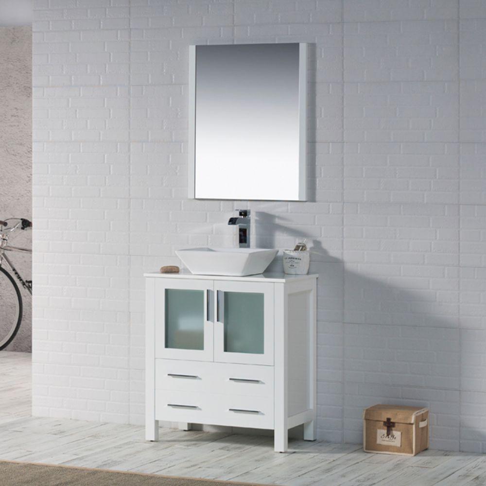 "Sydney Modern 30"" Bathroom Vanity Set with Vessel Sink and Mirror Glossy White"