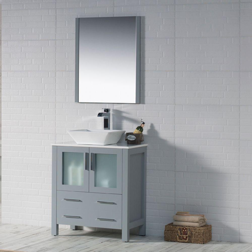 "Sydney Modern 30"" Bathroom Vanity Set with Vessel Sink and Mirror Metal Gray"
