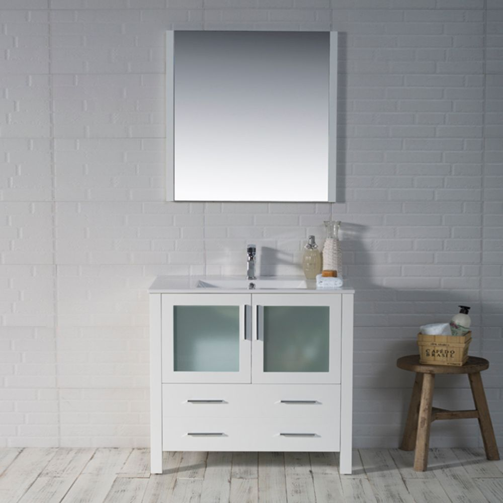 "Sydney Modern 36"" Bathroom Vanity Set with Mirror Glossy White"