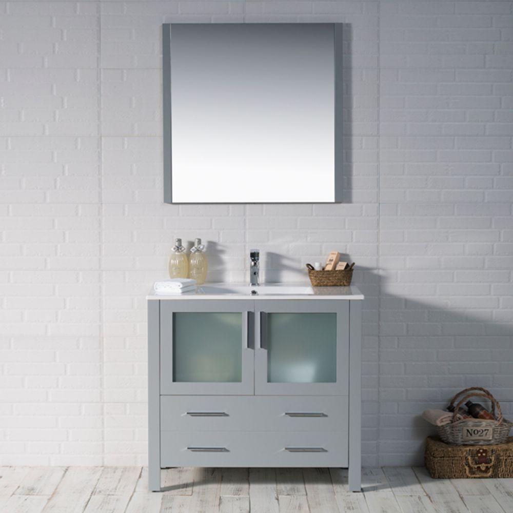 "Sydney Modern 36"" Bathroom Vanity Set with Mirror Metal Gray"