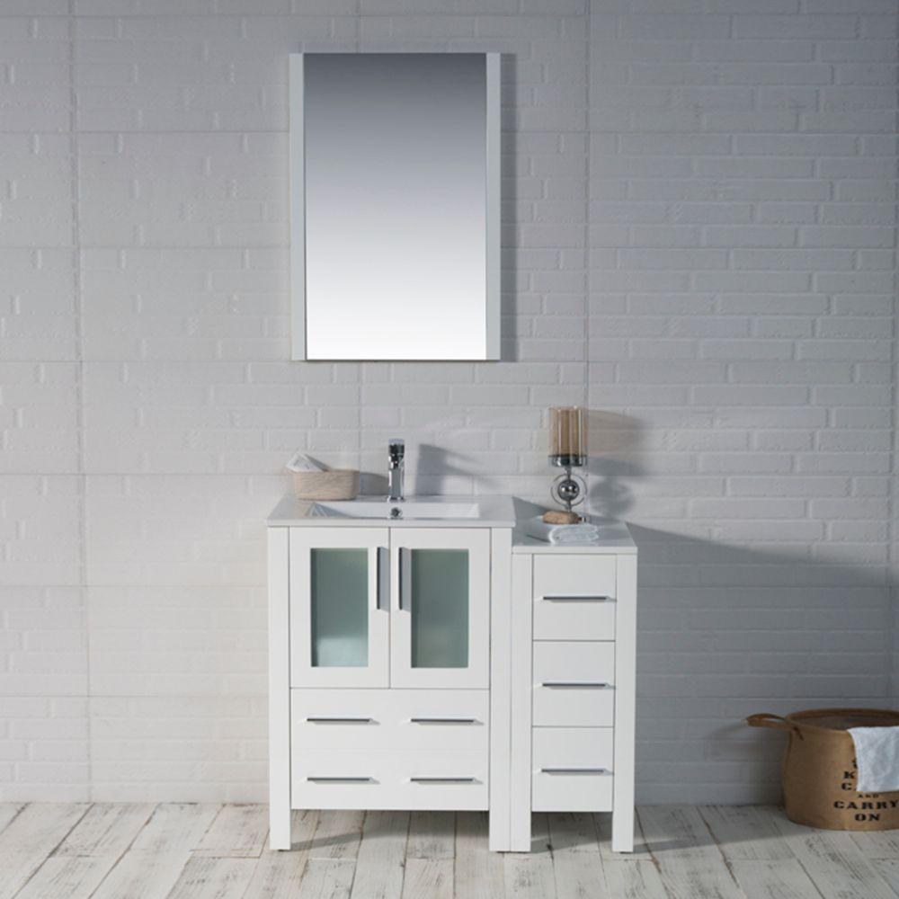 "Sydney Modern 36"" Bathroom Vanity Set with Side Cabinet Glossy White"