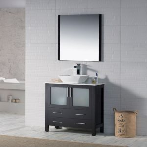 "Sydney Modern 36"" Bathroom Vanity Set with Vessel Sink and Mirror Espresso"
