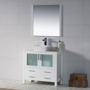 "Sydney Modern 36"" Bathroom Vanity Set with Vessel Sink and Mirror Glossy White"