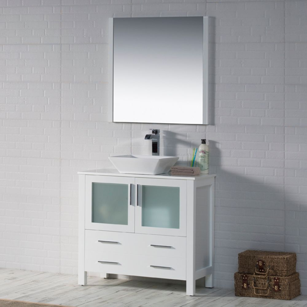 "Sydney Modern 36"" Bathroom Vanity Set with Vessel Sink and Mirror Glossy White"