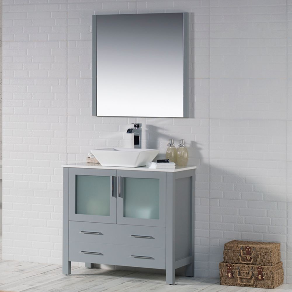 "Sydney Modern 36"" Bathroom Vanity Set with Vessel Sink and Mirror Metal Gray"