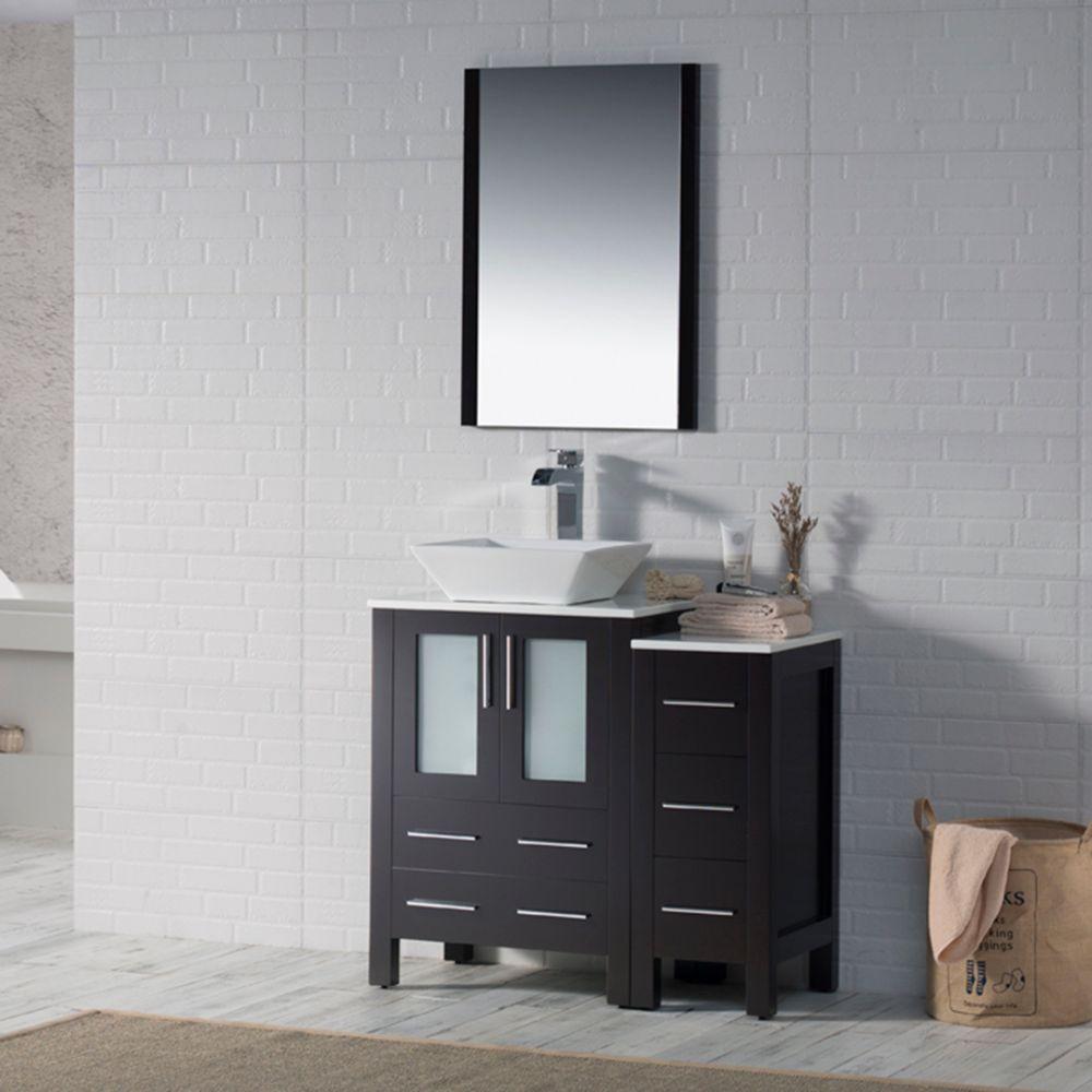 "Sydney Modern 36"" Bathroom Vanity Set with Vessel Sink and Side Cabinet Espresso"