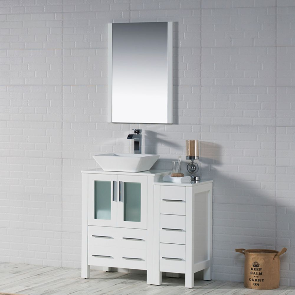 """Sydney Modern 36"""" Bathroom Vanity Set with Vessel Sink and Side Cabinet Glossy White"""