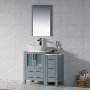 "Sydney Modern 36"" Bathroom Vanity Set with Vessel Sink and Side Cabinet Metal Gray"