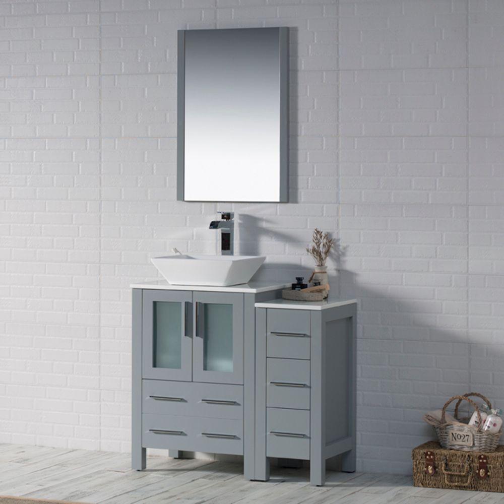 "Sydney Modern 36"" Bathroom Vanity Set with Vessel Sink and Side Cabinet Metal Gray"