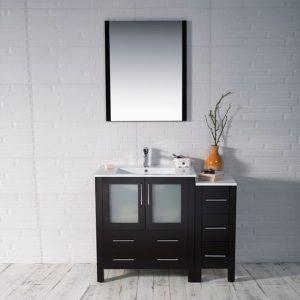 "Sydney Modern 42"" Bathroom Vanity Set with Side Cabinet Espresso"