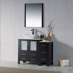 "Sydney Modern 42"" Bathroom Vanity Set with Vessel Sink and Side Cabinet Espresso"