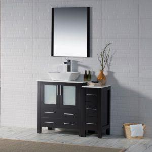 "Sydney Modern 42"" Bathroom Vanity Set with Vessel Sink and Side Cabinet Espresso"