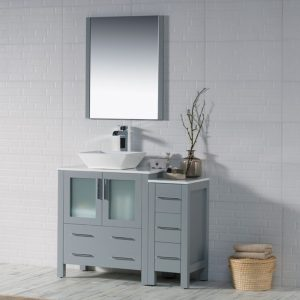 "Sydney Modern 42"" Bathroom Vanity Set with Vessel Sink and Side Cabinet Metal Gray"