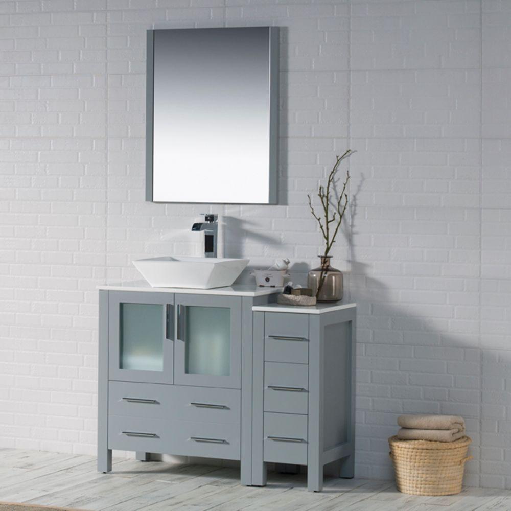 "Sydney Modern 42"" Bathroom Vanity Set with Vessel Sink and Side Cabinet Metal Gray"