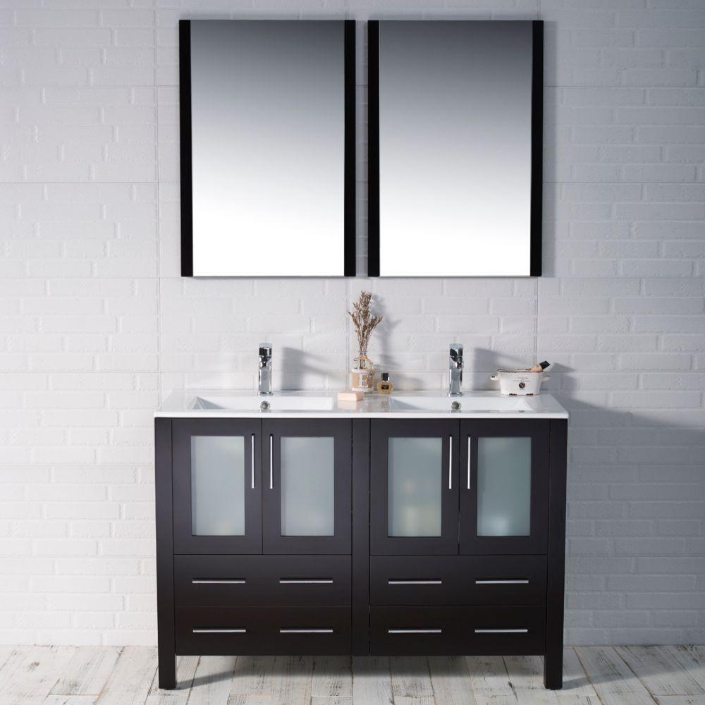 "Sydney Modern 48"" Double Bathroom Vanity Set with Mirrors Espresso"