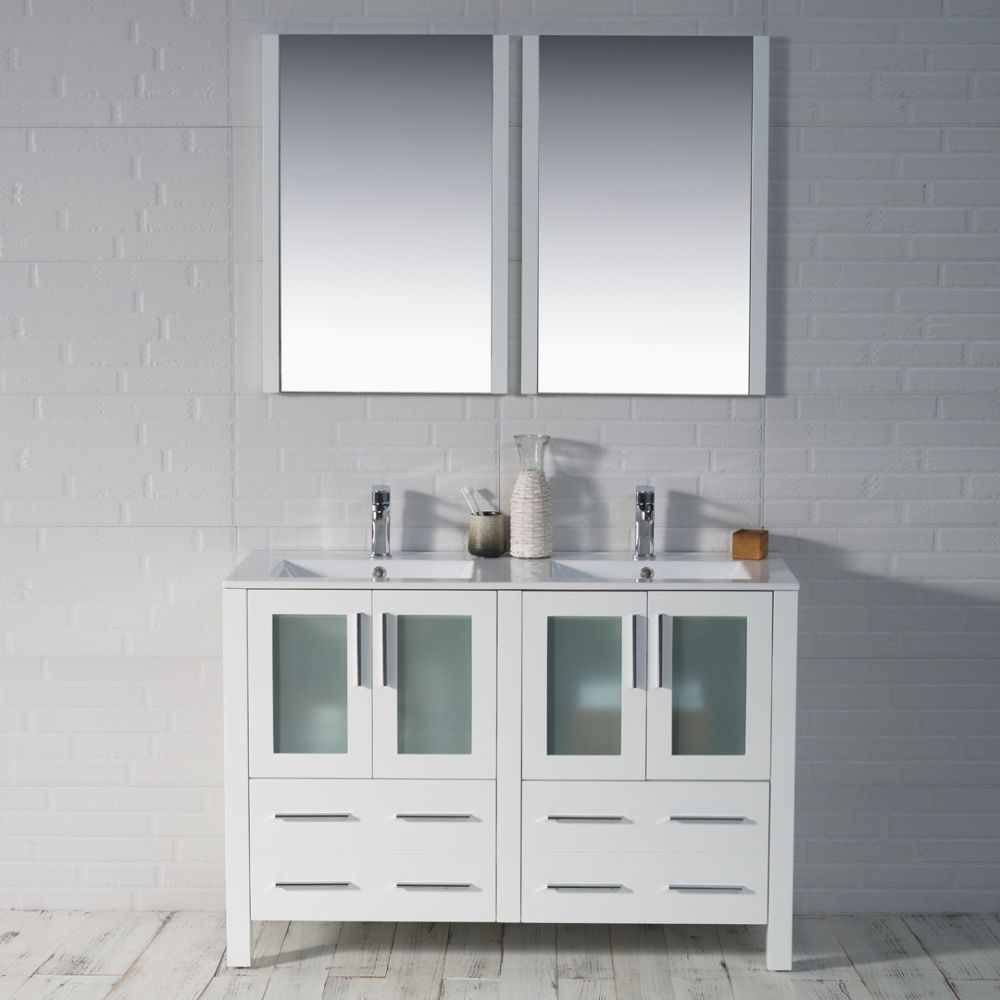 "Sydney Modern 48"" Double Bathroom Vanity Set with Mirrors Glossy White"