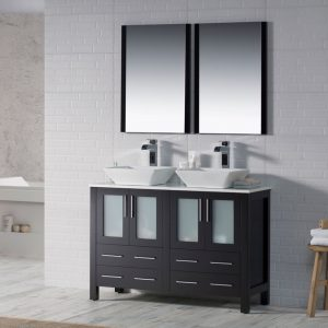 "Sydney Modern 48"" Double Bathroom Vanity Set with Vessel Sinks and Mirrors Espresso"