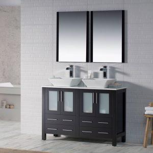 "Sydney Modern 48"" Double Bathroom Vanity Set with Vessel Sinks and Mirrors Espresso"