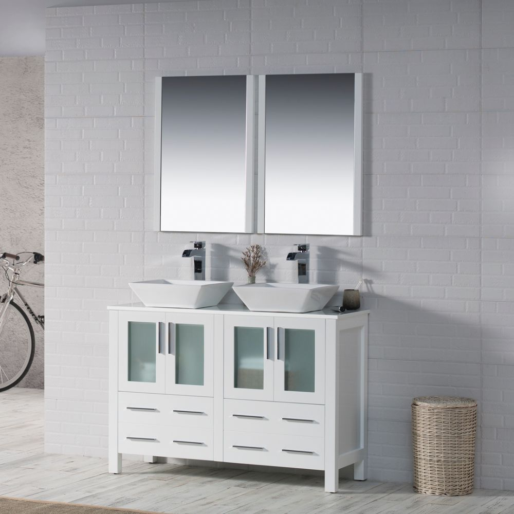 "Sydney Modern 48"" Double Bathroom Vanity Set with Vessel Sinks and Mirrors Glossy White"