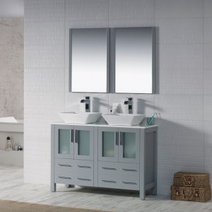 "Sydney Modern 48"" Double Bathroom Vanity Set with Vessel Sinks and Mirrors Metal Gray"