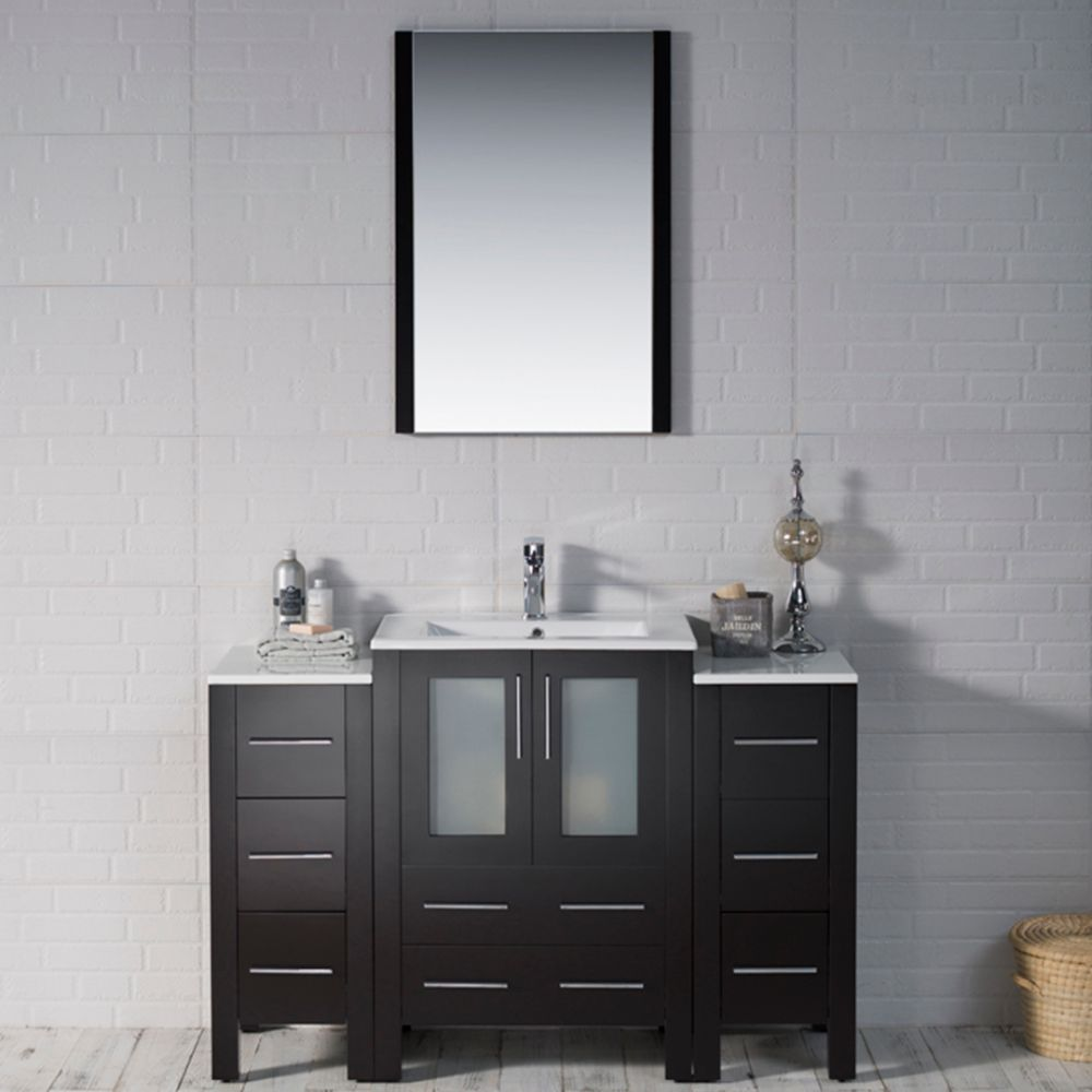 """Sydney Modern 48"""" Bathroom Vanity Set with Double Side Cabinets Espresso"""