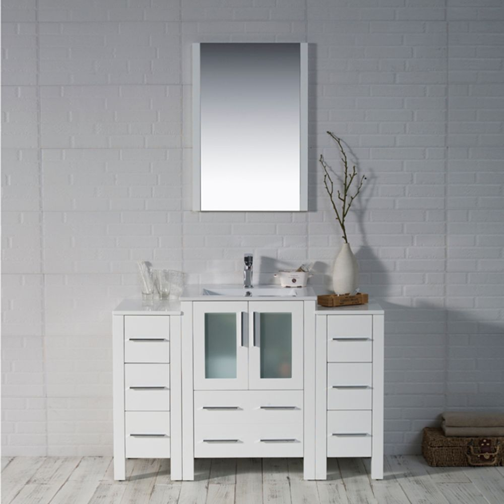 """Sydney Modern 48"""" Bathroom Vanity Set with Double Side Cabinets Glossy White"""