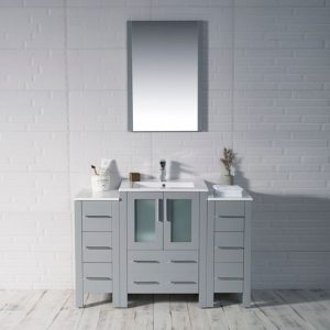 """Sydney Modern 48"""" Bathroom Vanity Set with Double Side Cabinets Metal Gray"""