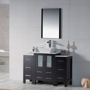 "Sydney Modern 48"" Bathroom Vanity Set with Vessel Sink and Double Side Cabinets Espresso"