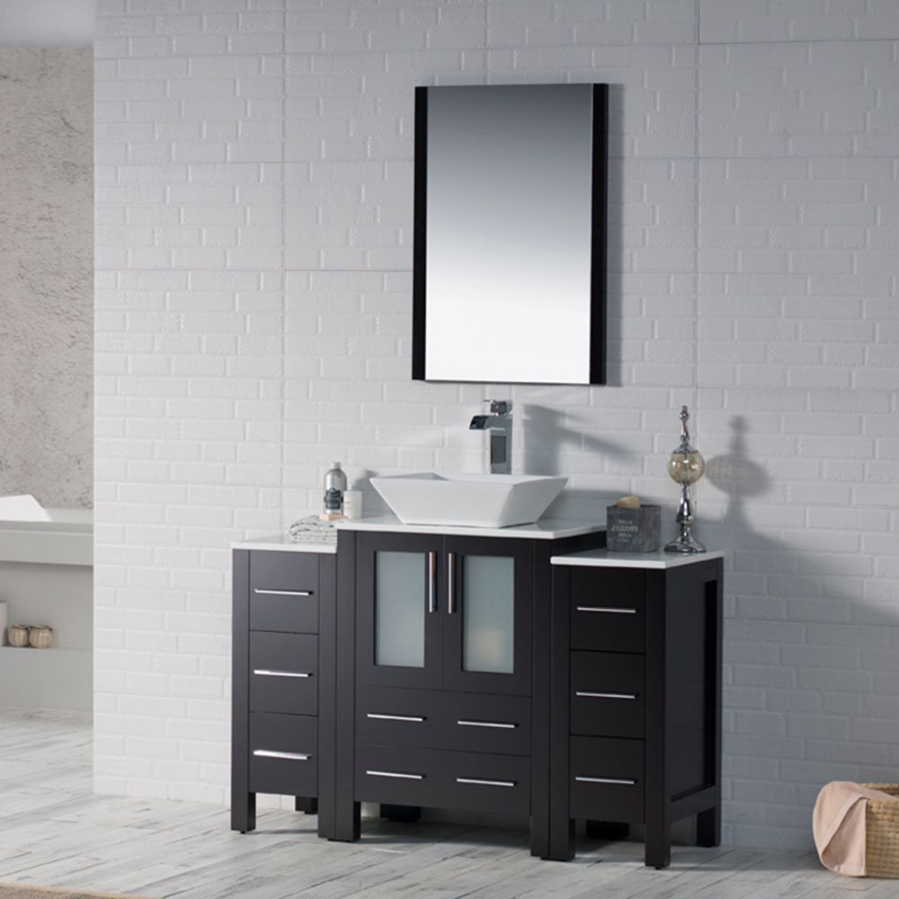 """Sydney Modern 48"""" Bathroom Vanity Set with Vessel Sink and Double Side Cabinets Espresso"""