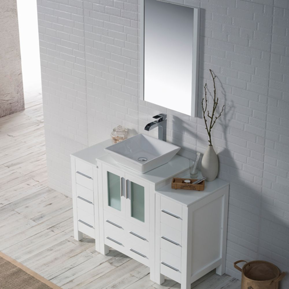 """Sydney Modern 48"""" Bathroom Vanity Set with Vessel Sink and Double Side Cabinets Glossy White"""