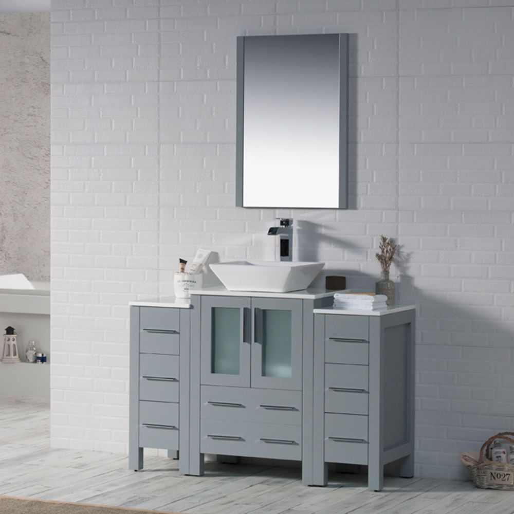 """Sydney Modern 48"""" Bathroom Vanity Set with Vessel Sink and Double Side Cabinets Metal Gray"""