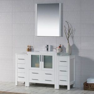 "Sydney Modern 54"" Bathroom Vanity Set with Double Side Cabinets Glossy White"