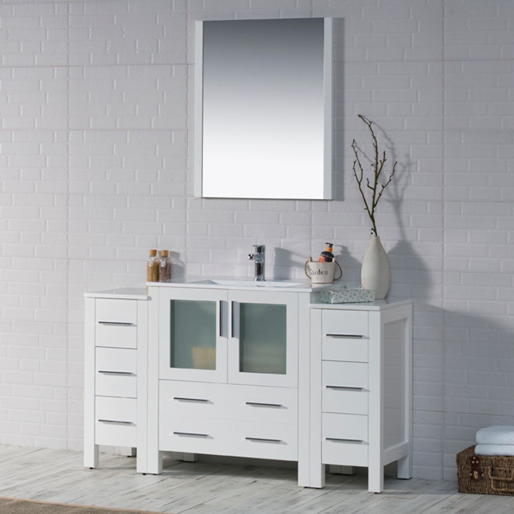"""Sydney Modern 54"""" Bathroom Vanity Set with Double Side Cabinets Glossy White"""