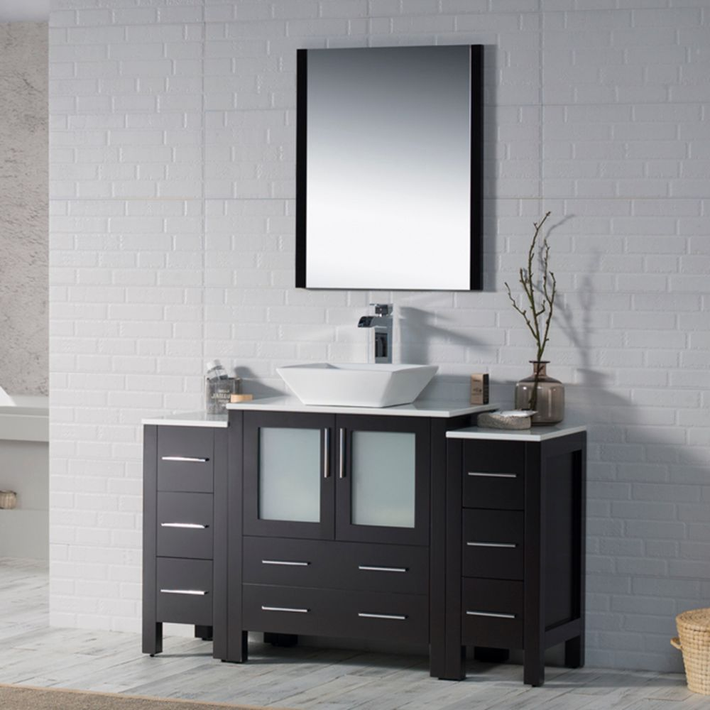 """Sydney Modern 54"""" Bathroom Vanity Set with Vessel Sink and Double Side Cabinets Espresso"""
