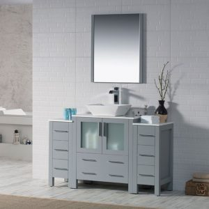 "Sydney Modern 54"" Bathroom Vanity Set with Vessel Sink and Double Side Cabinets Metal Gray"