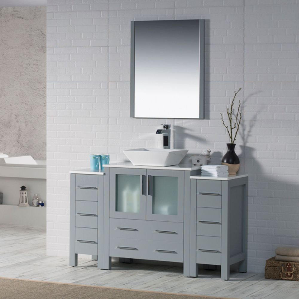 """Sydney Modern 54"""" Bathroom Vanity Set with Vessel Sink and Double Side Cabinets Metal Gray"""