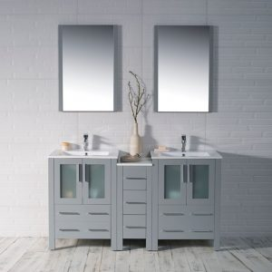 "Sydney Modern 60"" Double Bathroom Vanity Set with Mirrors Metal Gray"