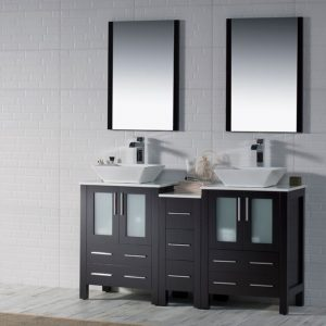 "Sydney Modern 60"" Double Bathroom Vanity Set with Vessel Sinks and Mirrors Espresso"