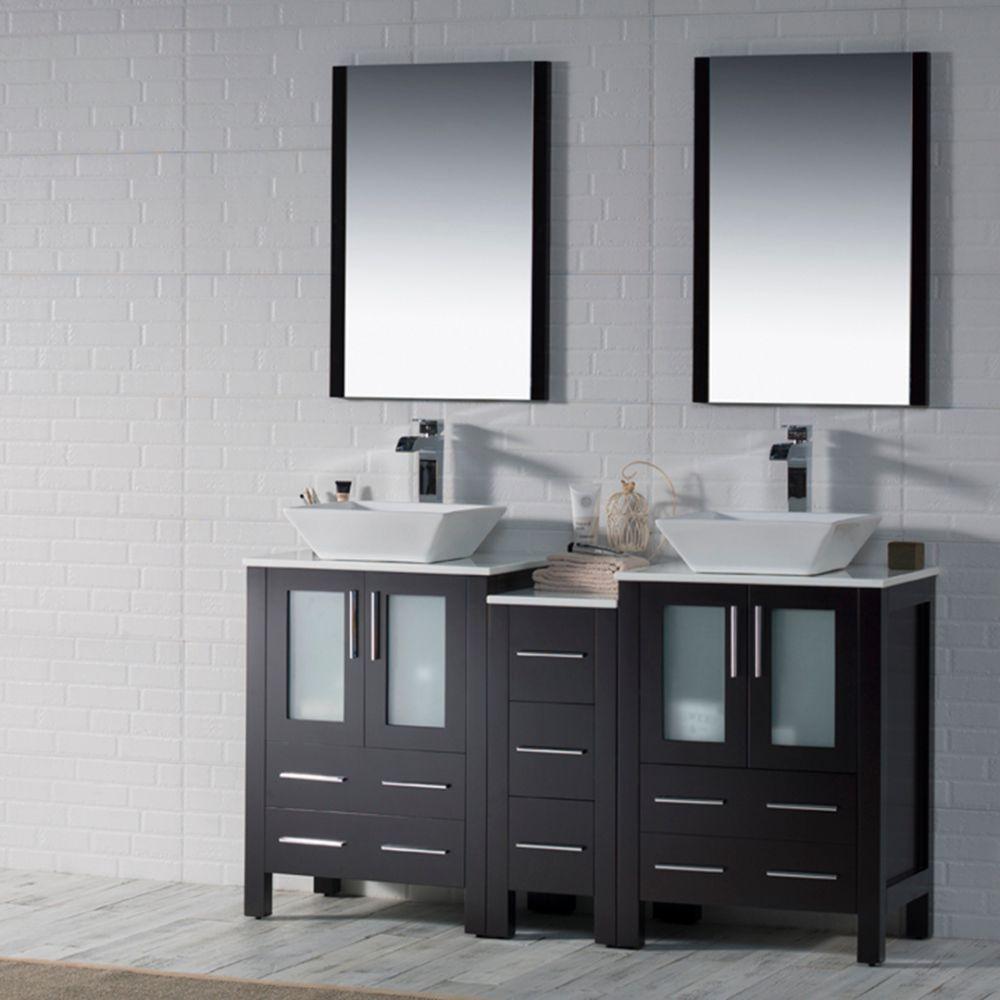 "Sydney Modern 60"" Double Bathroom Vanity Set with Vessel Sinks and Mirrors Espresso"