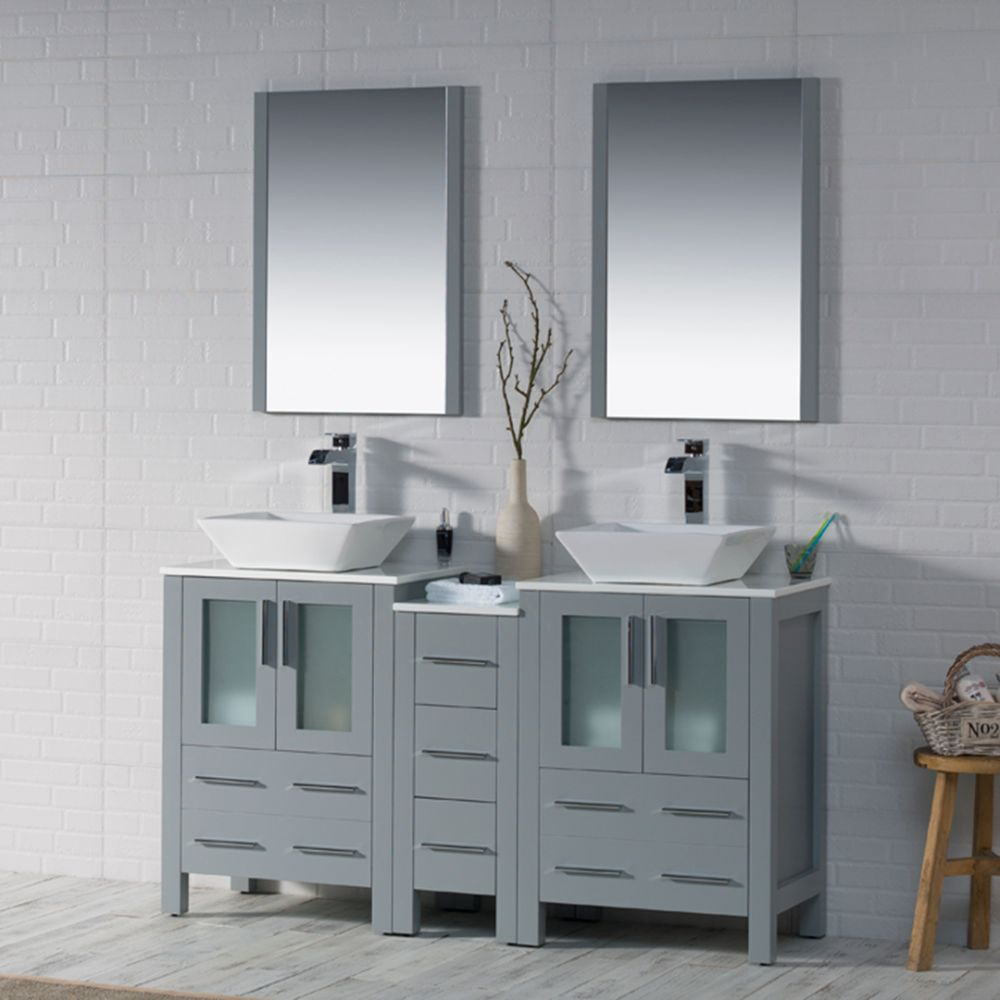 """Sydney Modern 60"""" Double Bathroom Vanity Set with Vessel Sinks and Mirrors Metal Gray"""