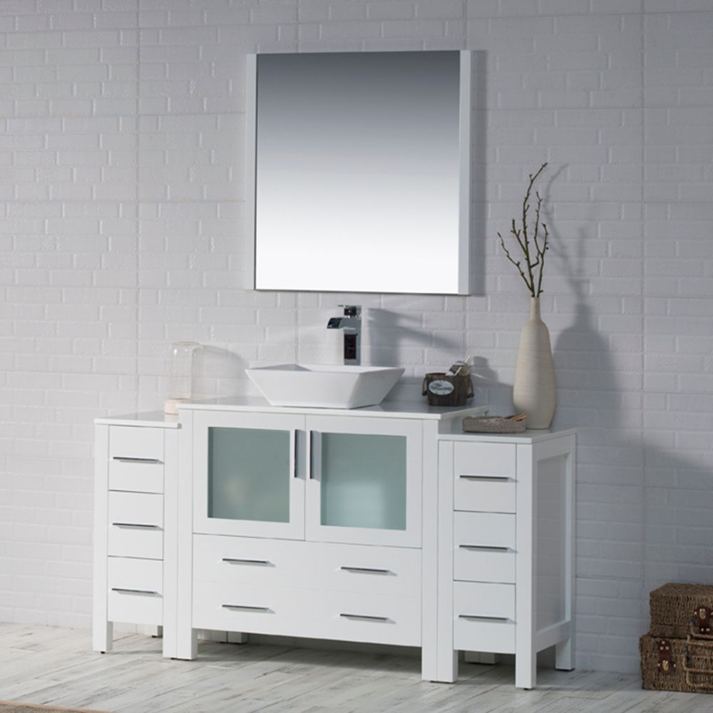 """Sydney Modern 60"""" Single Bathroom Vanity Set with Vessel Sink and Double Side Cabinets Glossy White"""