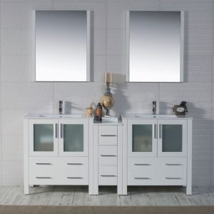 "Sydney Modern 72"" Double Bathroom Vanity Set with Mirrors Glossy White"