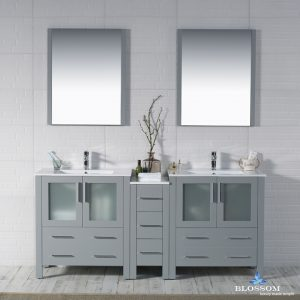 "Sydney Modern 72"" Double Bathroom Vanity Set with Mirrors Metal Gray"