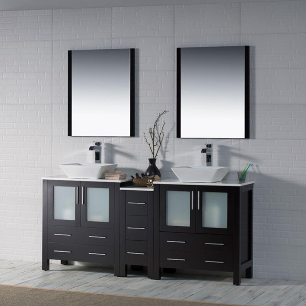 "Sydney Modern 72"" Double Bathroom Vanity Set with Vessel Sinks and Mirrors Espresso"